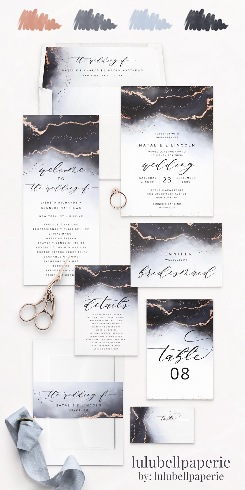 Dusty Blue Rose Gold and Navy Ethereal Mist Wedding Invitation Suite - Envelope Liners, Wedding Invites, Program Cards, Bridesmaid Proposal, Details Card, table Numbers, Belly Band Wraps, and Placecards