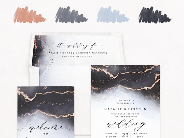 Dusty Blue Rose Gold & Navy Wedding Color Palette - Inspiration Invitations and Free Planner Sticker Sheet