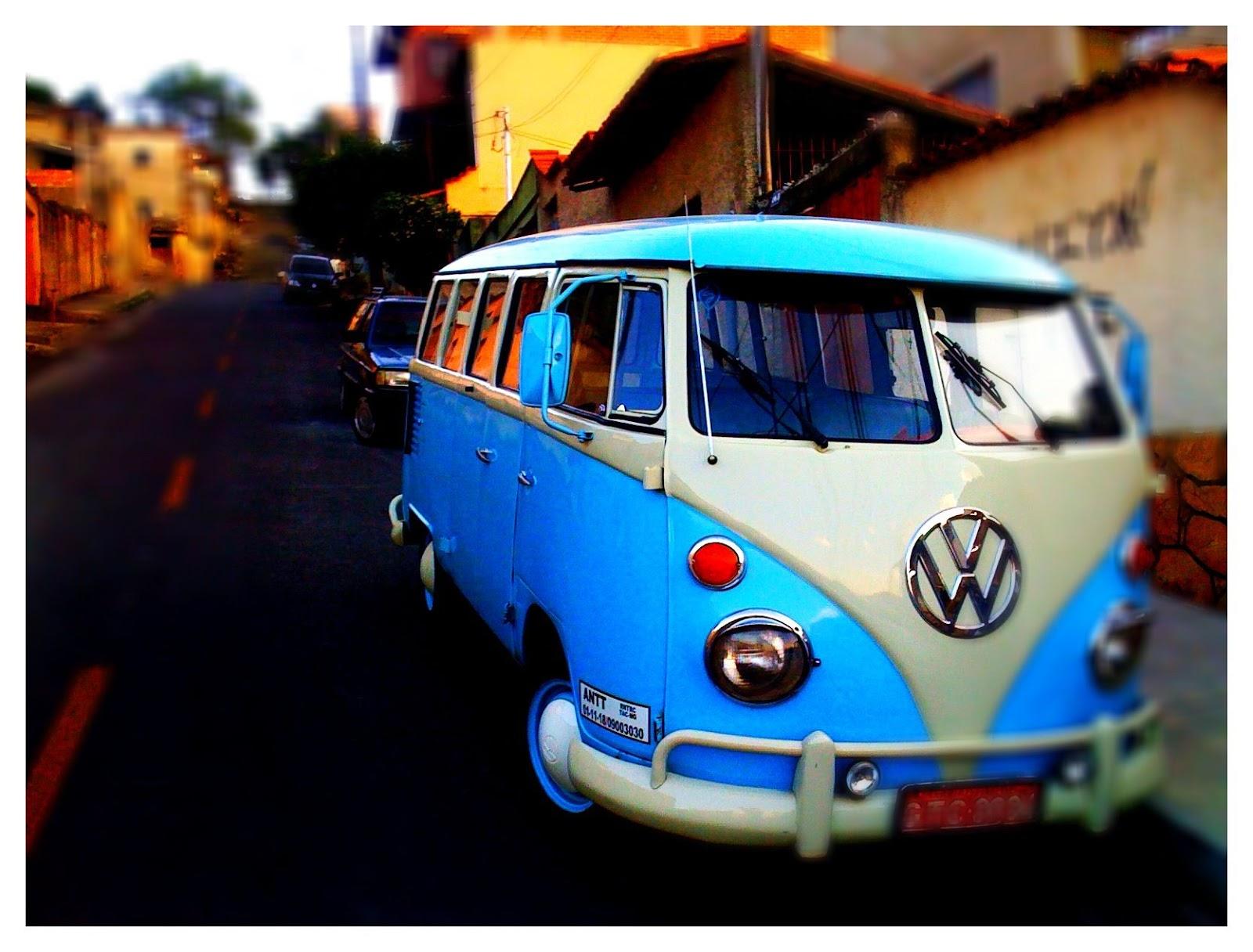 Blue Volkswagen Camper Van