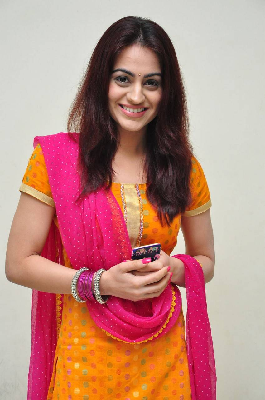 Glamours Indian Girl Aksha Hot Smiling Face In Yellow Dress Churidar