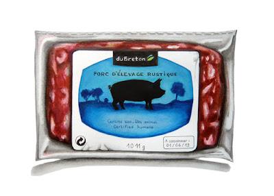 """Barquette de porc haché avec l'étiquette """"Bien-être animal"""""""