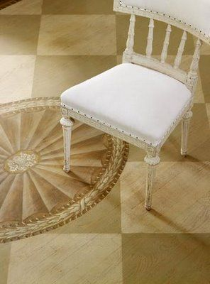 Shannon Bowers chair stenciled painted wood floor