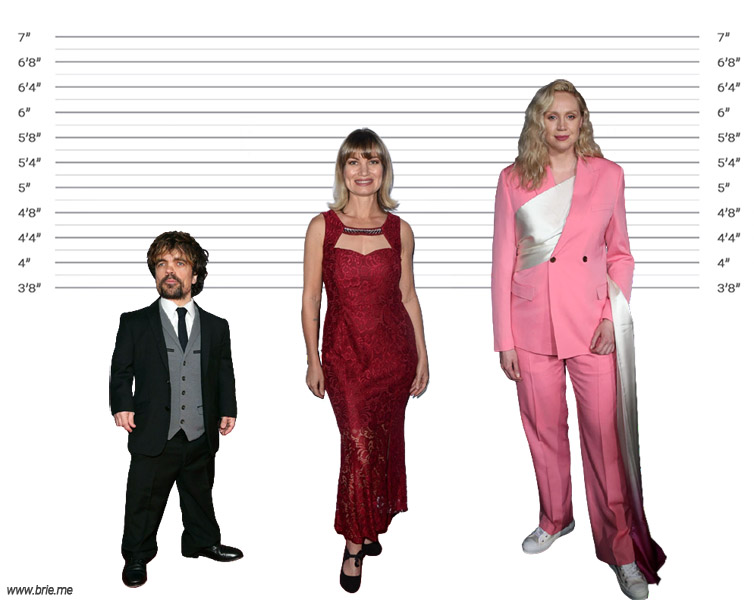 Rena Riffel height comparison with Peter Dinklage and Gwendoline Christie