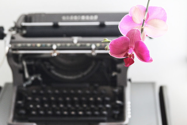 orchid flowers, pink flowers, vintage typewriter, My Giant Strawberry, Anne Butera