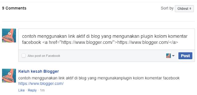 cara mengirim link di kolom komentar fb facebook blogger