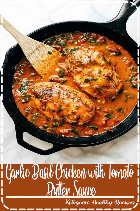 t believe that this easy real food recipe only requires  Garlic Basil Chicken with Tomato Butter Sauce