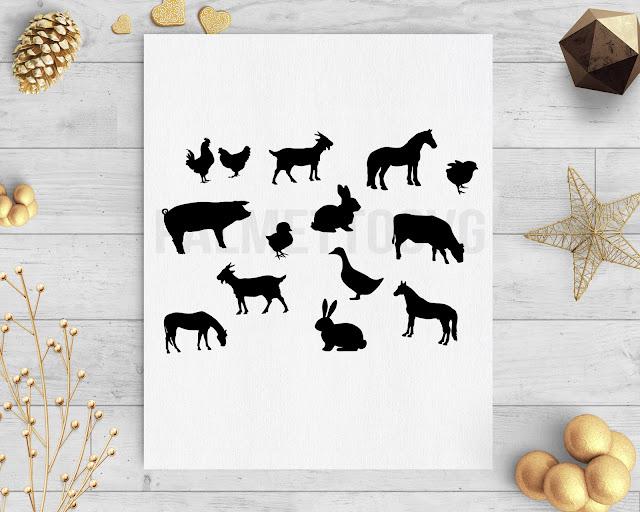 farm animals clip art svg dxf cut file silhouette cameo cricut download