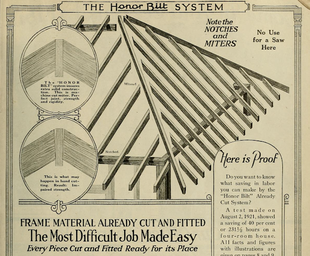 black and white image focusing on mitered joints 1923 Sears Modern Homes catalog page explaining pre-cut system