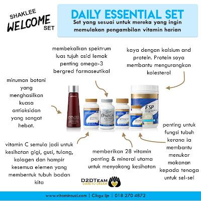 daily essential set shaklee, set keperluan harian