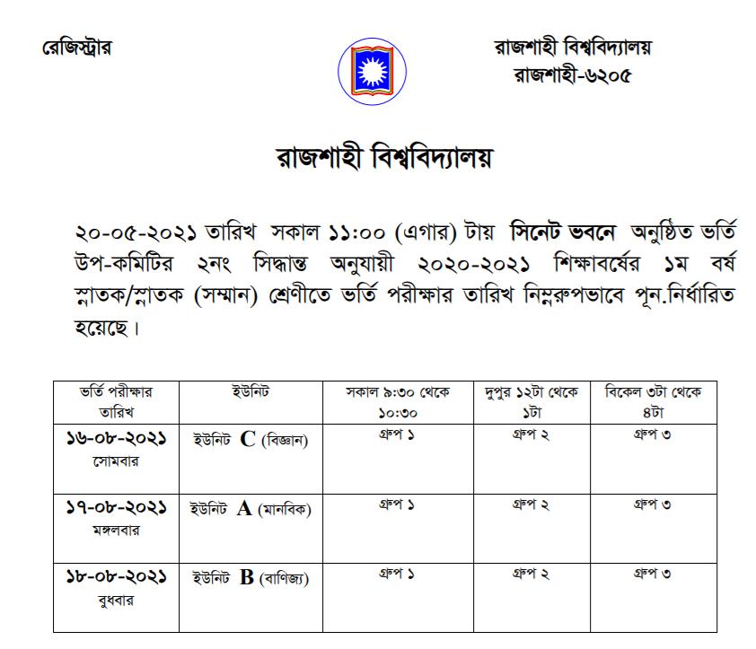 Rajshahi University Admission 2020-21