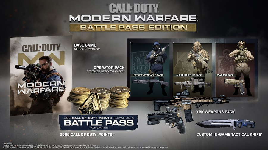 call of duty modern warfare season 1 battle pass edition 3000 cod points exclusive combat knife xrk weapons pack  pc ps4 xb1