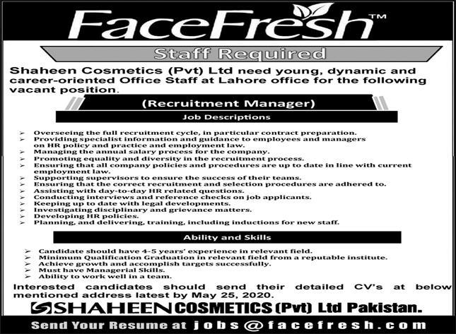 Shaheen Cosmetics Face Fresh Islamabad Jobs