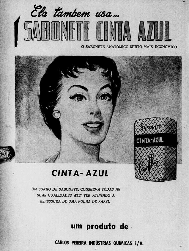 Propaganda de 1956 do sabonete Cinta Azul enaltecendo o custo-benefício do produto