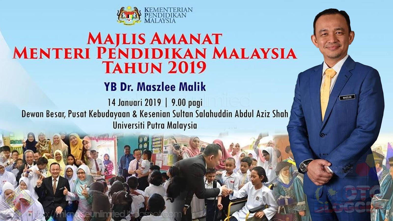 Amanat Menteri Pendidikan Tahun 2019 Pendidikan Untuk Semua Tanggungjawab Semua