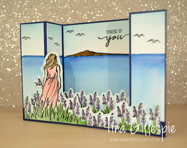 scissorspapercard, Stampin' Up!, Sydney OnStage Presentation, Beautiful Moments,  Bridge Fold Card, Watercolouring