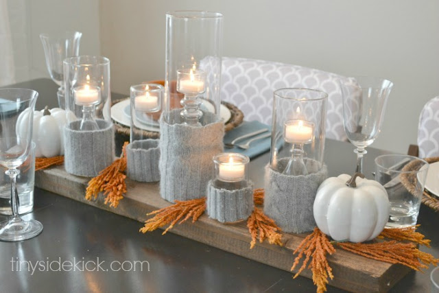 sweater candle holder centerpiece