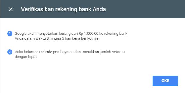 Verifikasi Rekening bank pembayaran Google Adsense dengan mudah