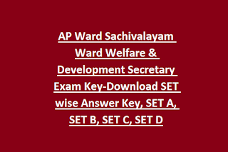 AP Ward Sachivalayam Ward Welfare & Development Secretary Exam Key-Download SET wise Answer Key, SET A, SET B, SET C, SET D
