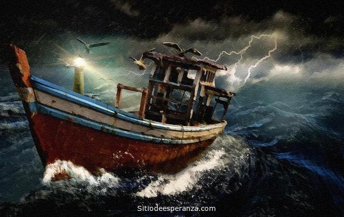 Barco en medio de la tormenta