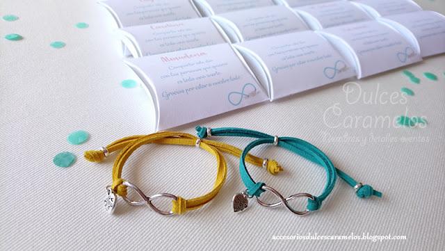 pulseras infinito despedida soltera turquesa y amarillo