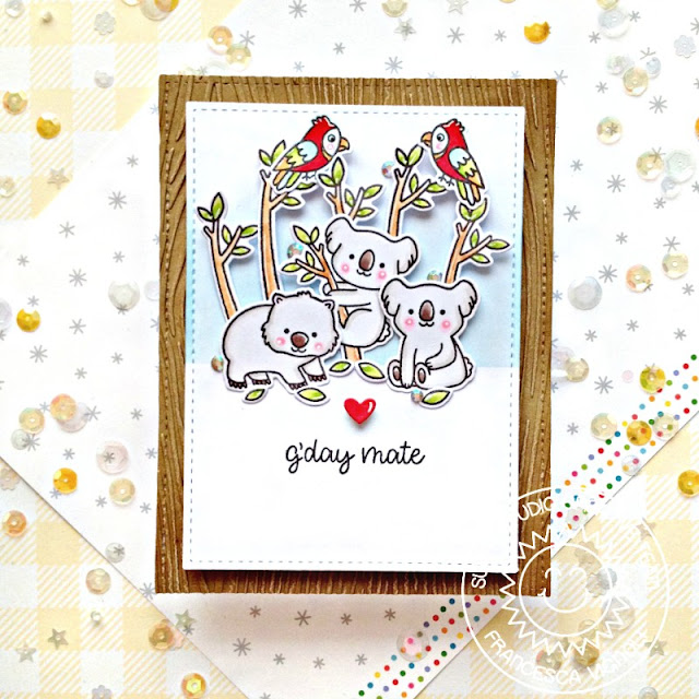 Sunny Studio Stamps: Embossing Folders Outback Critters Stitched Rectangles Card by Franci Vignoli