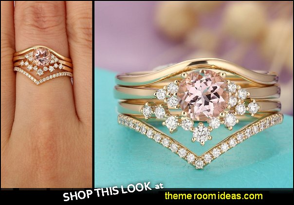 Morganite engagement ring set women,Unique diamond  wedding ring Cluster Curved band Vintage jewelry,Anniversary gifts for her