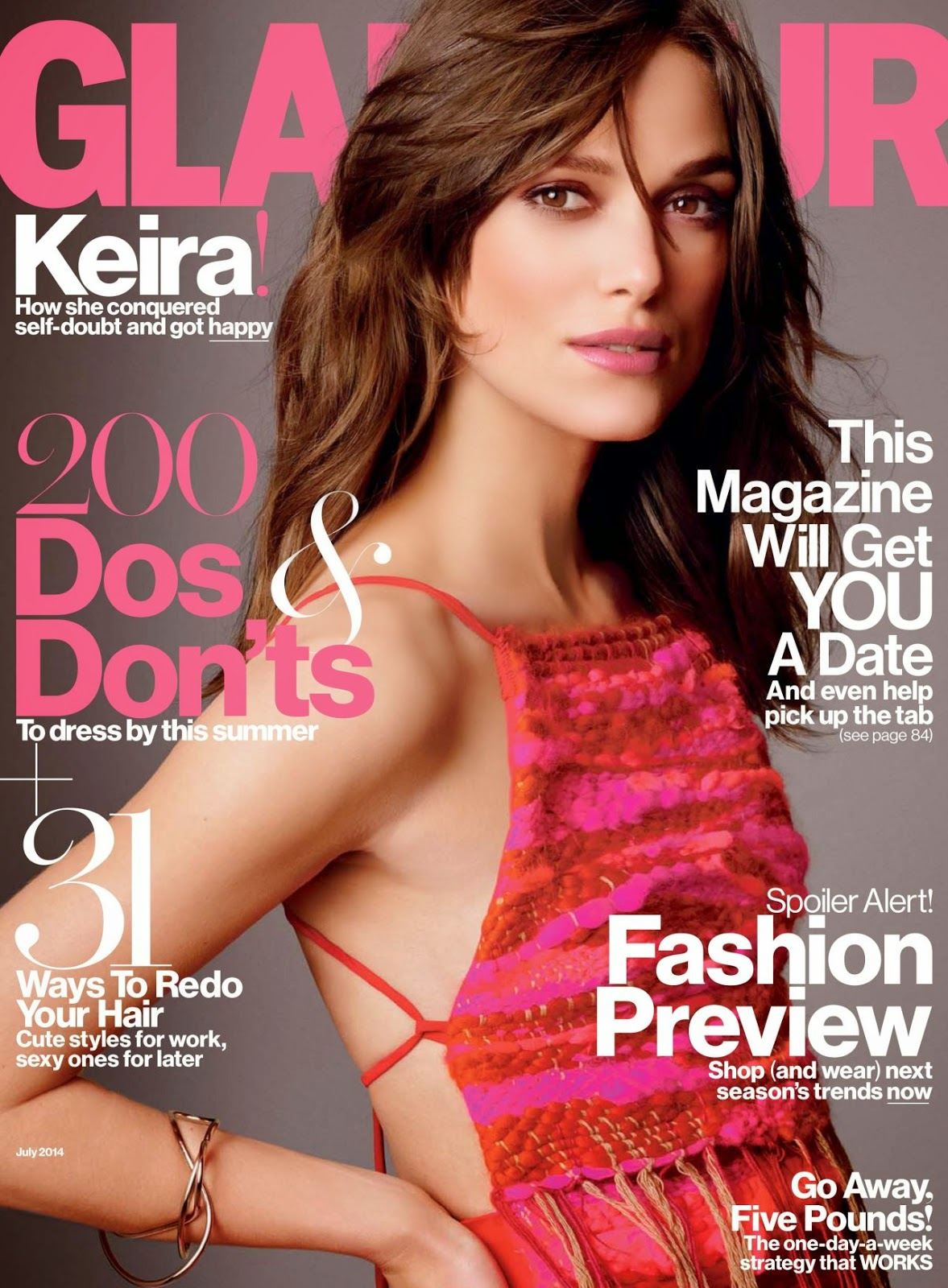 Keira Knightley covers Glamour's July 2014 issue