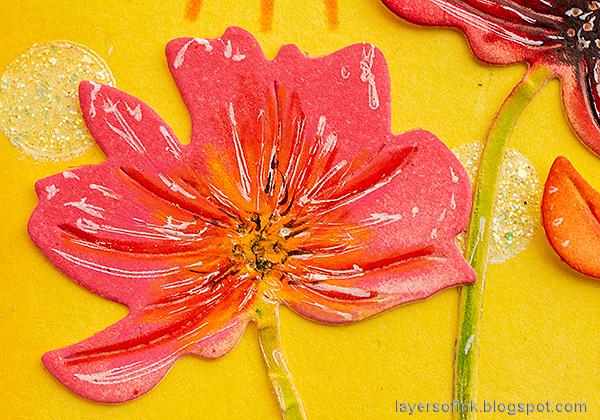 Layers of ink - Inky Sunshine Poppy card by Anna-Karin Evaldsson.