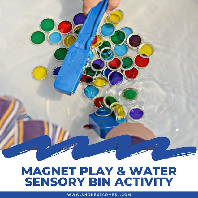 Magnet play water sensory bin idea for kids