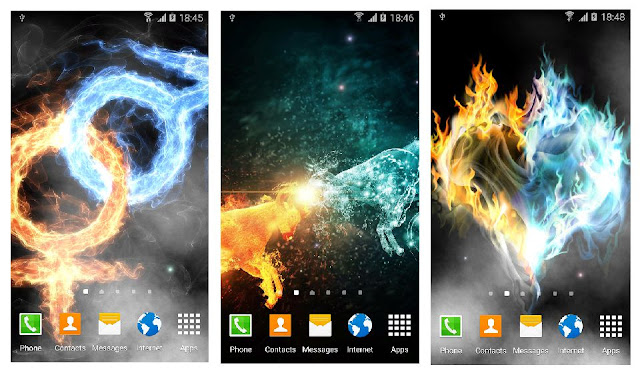 Fire and ice live wallpaper: stylish abstract free live wallpaper with live water effect that simulates water surface and with a set of beautiful abstract backgrounds.