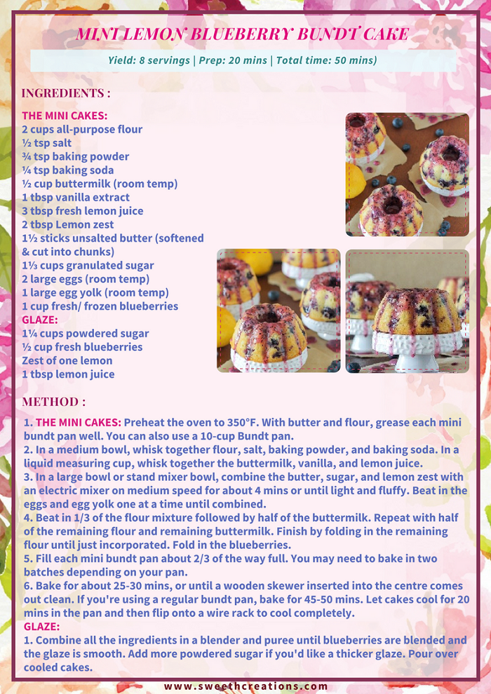 MINI LEMON BLUEBERRY BUNDT CAKE RECIPE