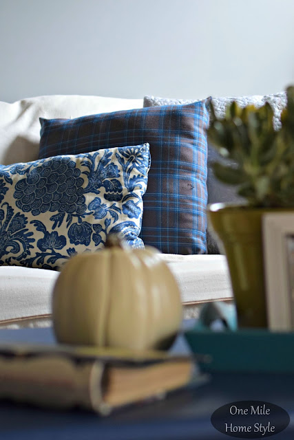 Mixed Pattern Pillows Blue Floral and Plaid- One Mile Home Style Fall Home Tour