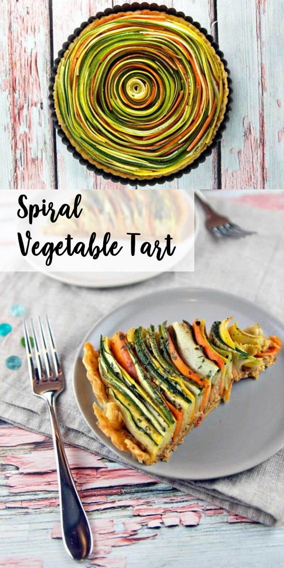 SPIRAL VEGETABLE TART #Vegetable #Healthy #Pie #Zucchini #Carrots #Tomato