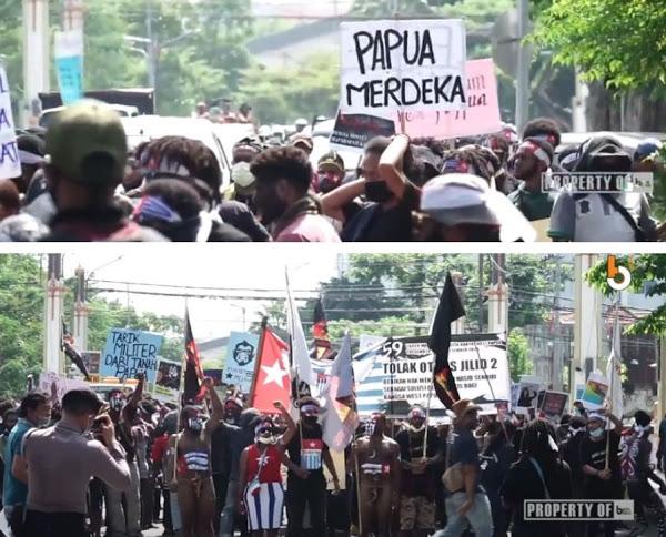 """Demo Tuntut """"Papua Merdeka"""" Berlangsung di Surabaya, Netizen Pertanyakan Dimana Banser Sang Garda Depan Penjaga NKRI"""