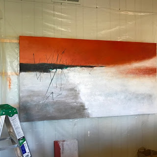 Large abstract painting nearly complete