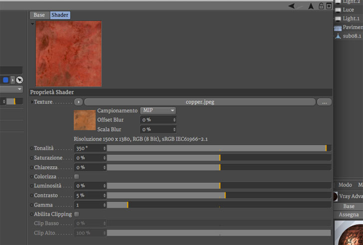 texture rame cinema4D Vray