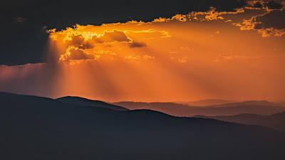 Clouds, Sunset, Mountain, Sunbeams