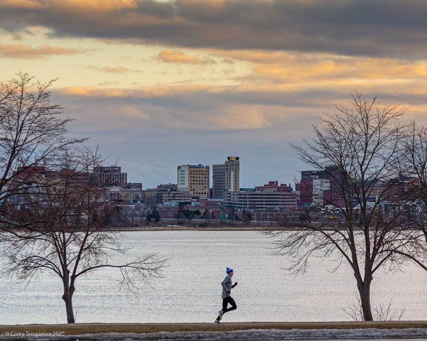 Portland, Maine USA February 2020 photo by Corey Templeton. Good winter weather for a jog around Back Cove.