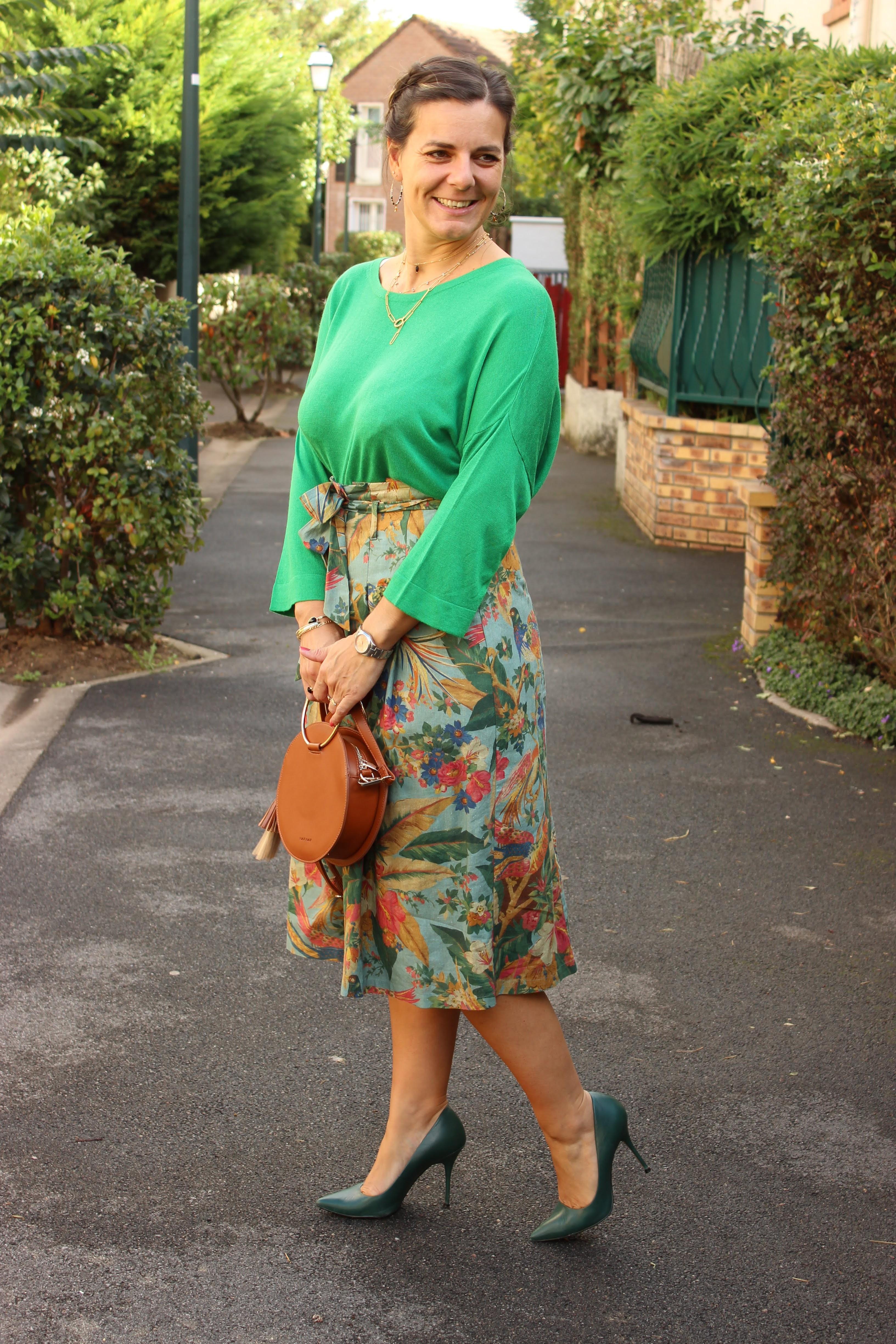 look du jour, look vert, jupe sézane, les petites bulles de ma vie