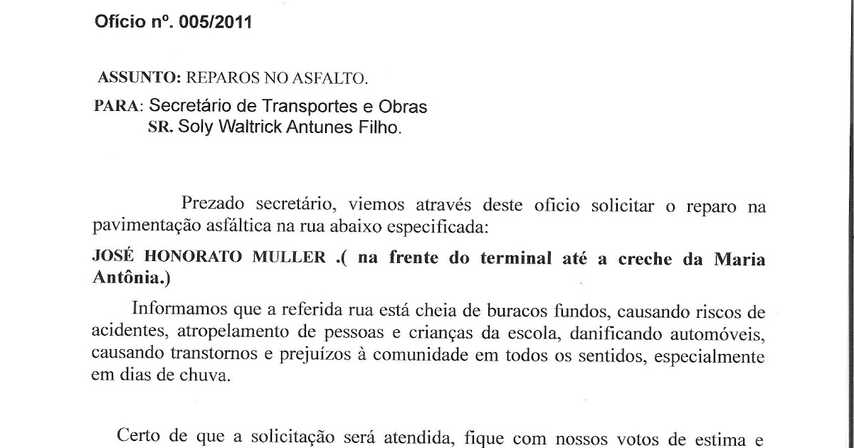 Ofício De Solicitação Monografia November 2019 Serviço