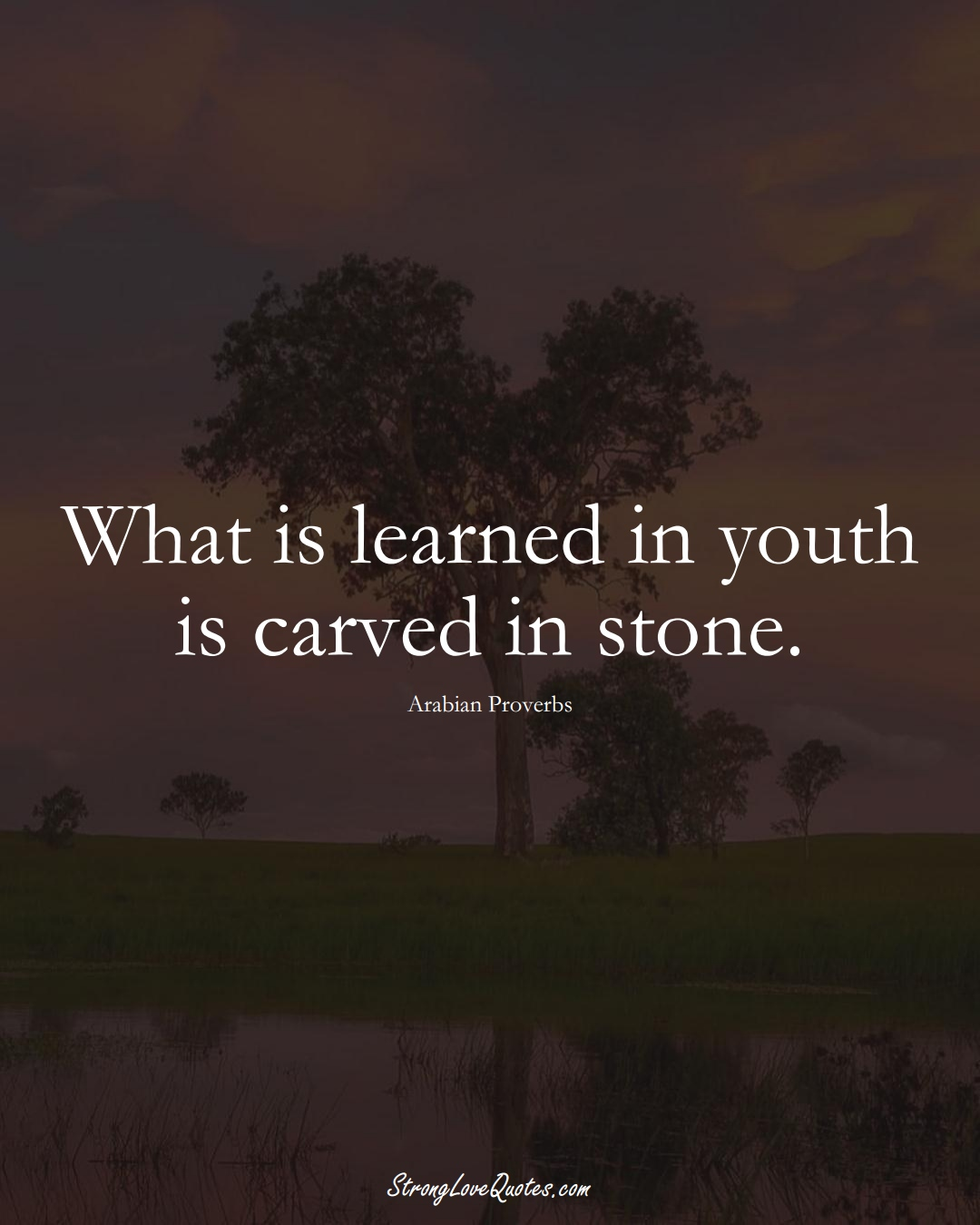 What is learned in youth is carved in stone. (Arabian Sayings);  #aVarietyofCulturesSayings