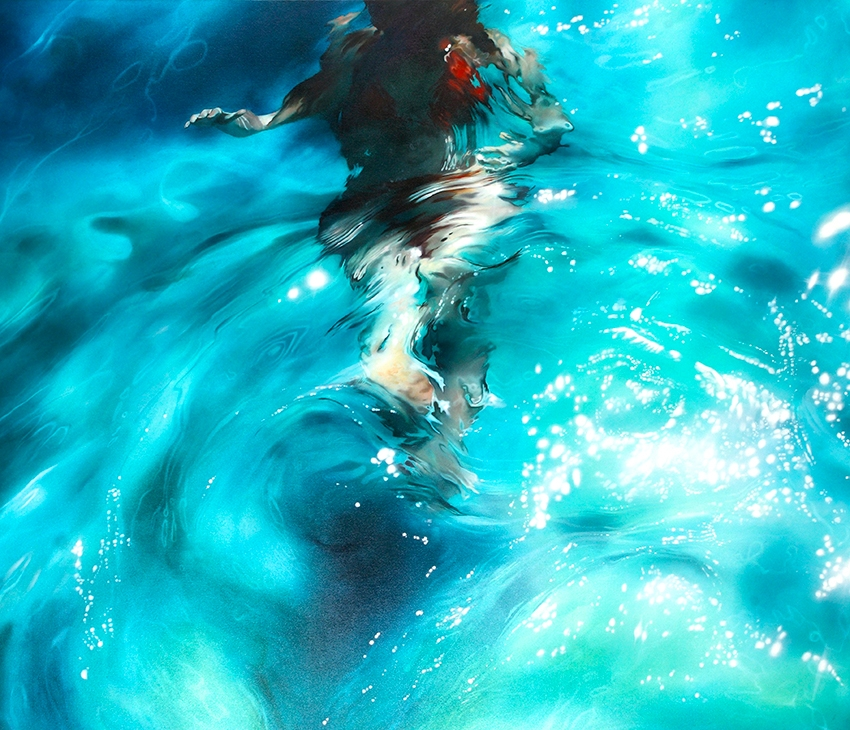 09-Sarah-Harvey-Self-Portraits-of-Realistic-Underwater-Paintings-www-designstack-co
