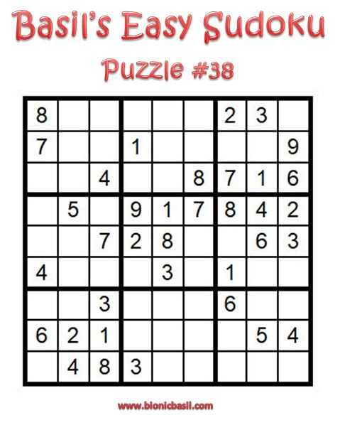 Basil's Easy Sudoku Puzzle #38 Brain Training with Cats ©BionicBasil® Downloadable Puzzle Fur Purrsonal Use Only