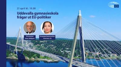Bildcollage med Uddevallabron och porträttbilder av EU-minister Hans Dahlgren och Europaparlamentariker Evin Incir.