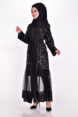 Pul Payetli abaya modelleri