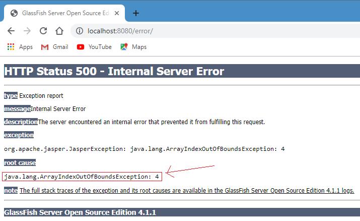 JSP implicit exception object