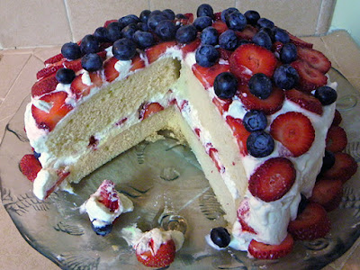 Berry Whipped Cream Cake with Slice missing