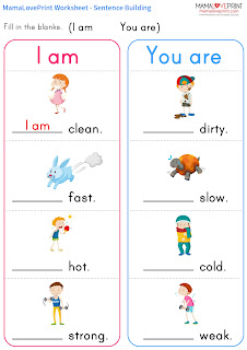 MamaLovePrint 自製工作紙 - 英文句子 I am / You are / We are 幼稚園工作紙  I am / You are / We are Practice English Grammar Learning Activities Kindergarten Worksheet Free Download