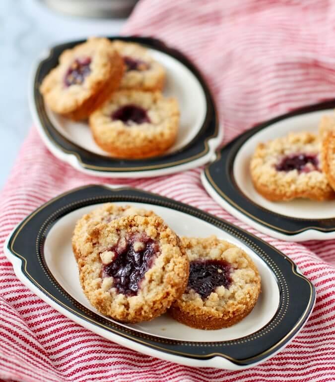 Shortbread Jam Cookies on plates