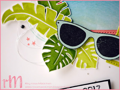 Stampin' Up! rosa Mädchen Kulmbach: Stamp Impressions Blog Hop: Summer Breeze: Karibik Layout Martinique mit Pop of Paradise, Labeler Alphabet, Cheers to the Year und Tasche voller Sonnenschein